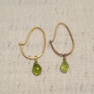 Satya matte gold and peridot hook earrings